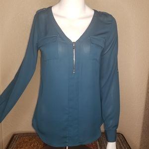 Candie's semi-sheer quarter zip top